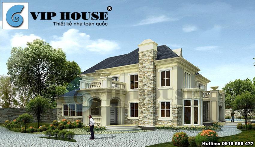 Thiết kế biệt thự tân cổ điển 3 tầng mái ngói đẹp