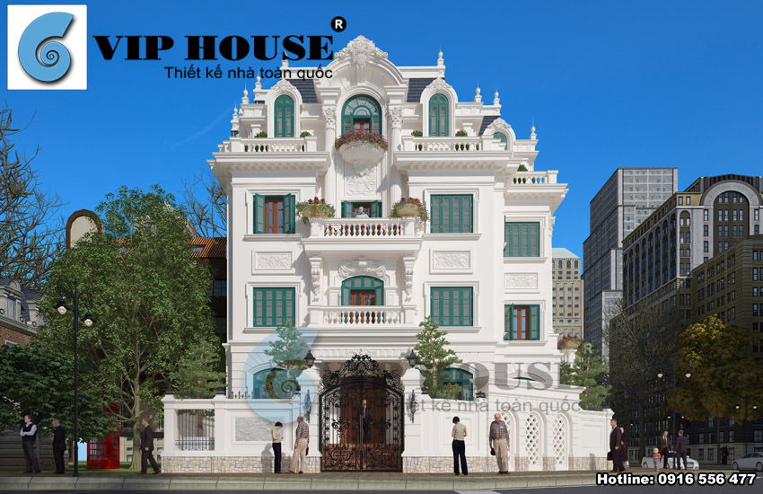 Mặt tiền chính mẫu thiết kế biệt thự kiểu Pháp 5 tầng