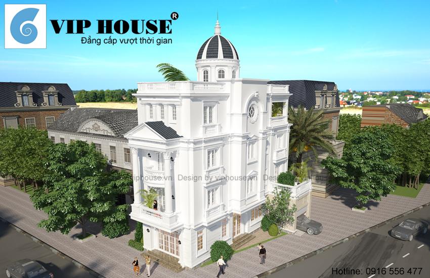 Phối cảnh tổng thể công trình biệt thự kiểu Pháp