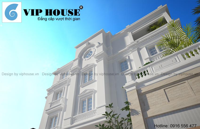 Thiết kế nhà biệt thự kiểu Pháp 4 tầng 2 mặt tiền - VH BTP 002