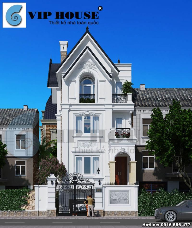 Phối cảnh công trình biệt thự kiểu Pháp 4 tầng sau khi được cải tạo