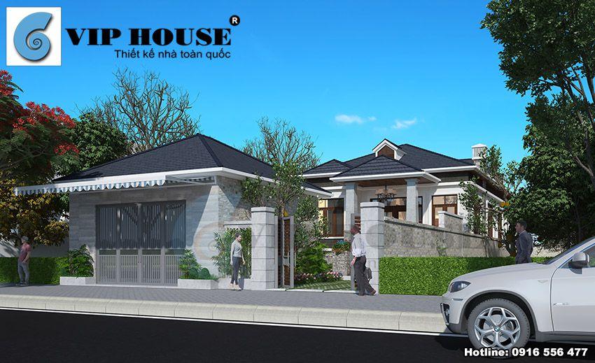 Thiết kế nhà vườn hiện đại 1 tầng tại Quốc Oai – Hà Nội