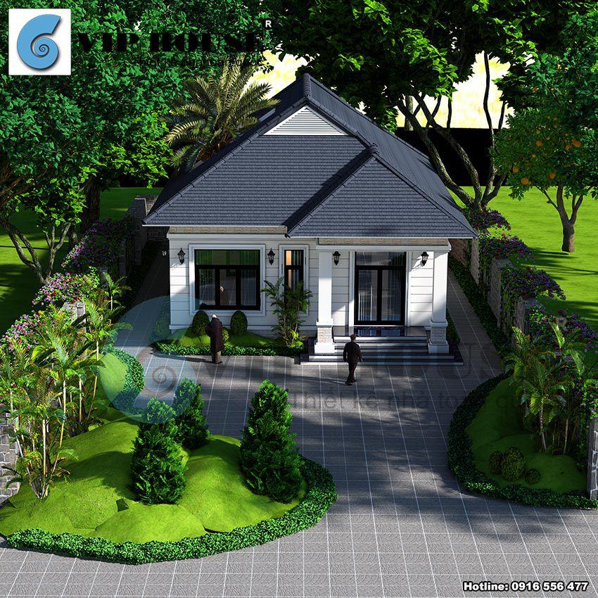 Phối cảnh nhà vườn 1 tầng kiến trúc tân cổ điển tại Đông Anh - Hà Nội