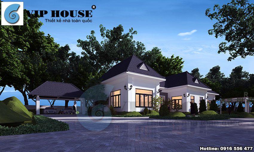 Phối cảnh góc của ngôi nhà với vẻ đẹp nhẹ nhàng, tinh tế