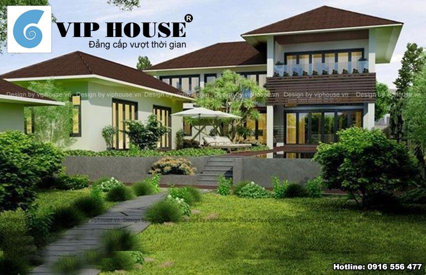 Phần nâng cốt nhà tạo sự phong phú cho không gian sử dụng và làm nổi bật hơn ngôi nhà chính phía sau
