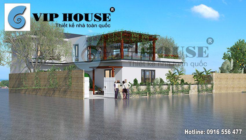 Thiết kế nhà vườn hiện đại 2 tầng ở Thái Bình - tổng quan ngôi nhà nhìn từ phía trước