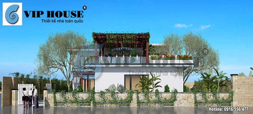 Phối cảnh kiến trúc nhà vườn hiện đại, năng động với hình khối đa dạng