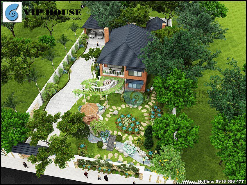 Tổng thể nhà vườn 2 tầng hài hòa cùng thiên nhiên