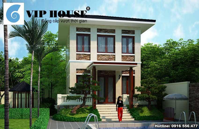 Thiết kế nhà vườn 2 tầng phong cách hiện đại tại Hà Nội - Hình ảnh mặt đứng công trình