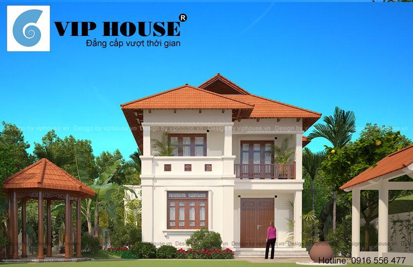 Thiết kế nhà vườn 2 tầng hình chữ L tại Hà Nội