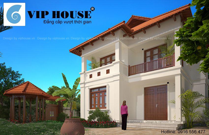 Thiết kế nhà vườn 2 tầng hình chữ L - VH TKNV 007