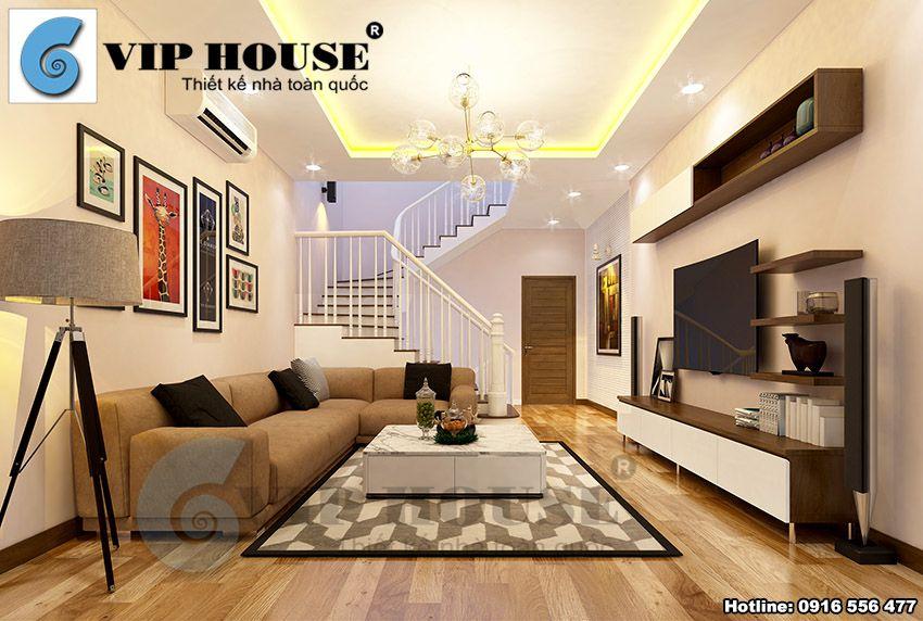 Không gian nội thất phòng khách hiện đại tầng 2