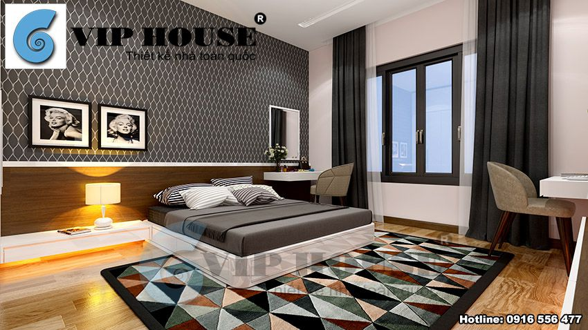 Thiết kế nội thất hiện đại phòng ngủ master tầng 2