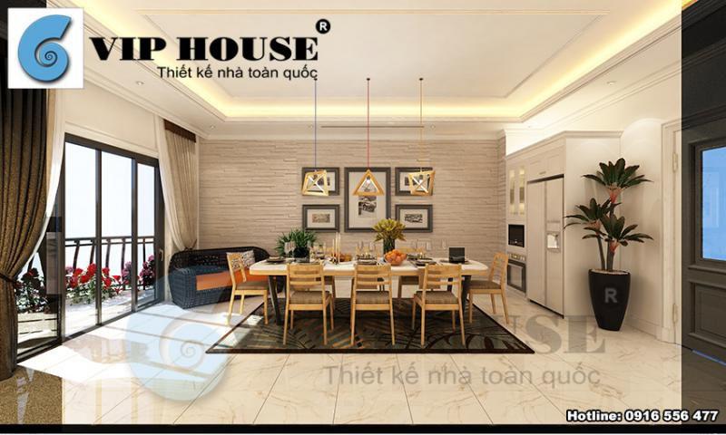 Thiết kế nội thất phòng bếp ăn nhà phố