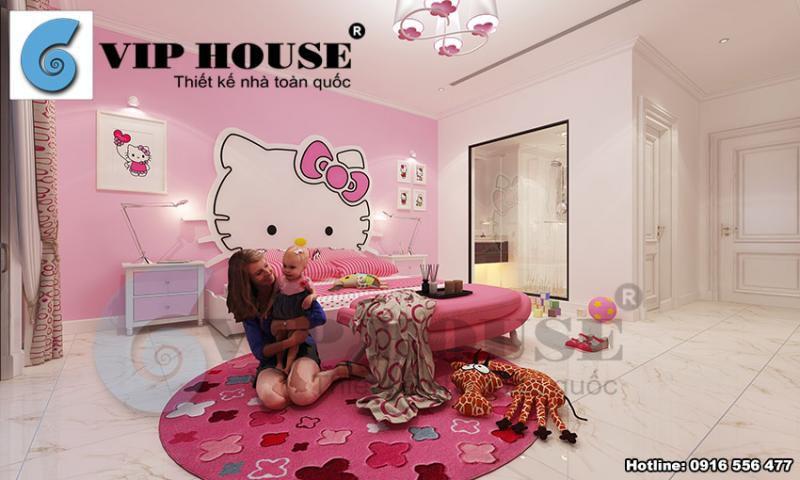 Thiết kế nội thất phòng ngủ con gái phong cách tân cổ điển