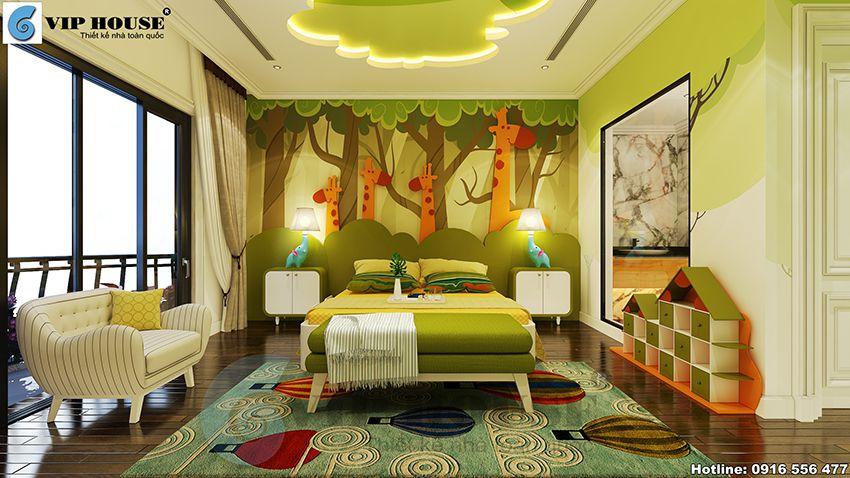Thiết kế nội thất tân cổ điển phòng ngủ con trai