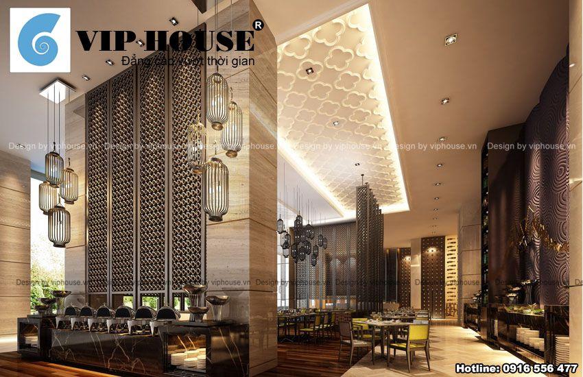 Không gian phòng ăn lớn mang phong cách hiện đại kết hợp Á Đông