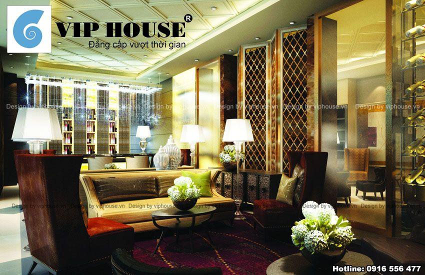 Không gian khách chờ trong thiết kế nội thất nhà hàng đẹp sang trọng, mang phong cách Châu Âu hiện đại