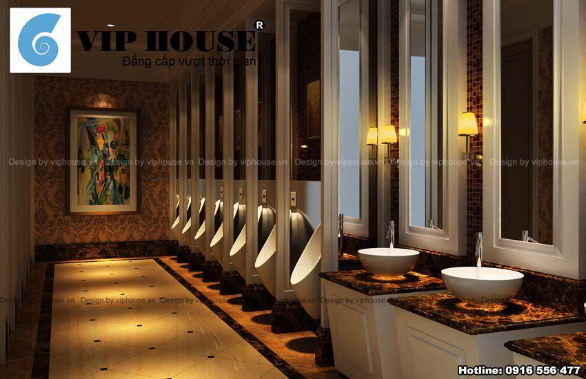 Phần sàn hành lang dẫn vào khu phòng ăn vip được trang trí cầu kỳ đẹp mắt