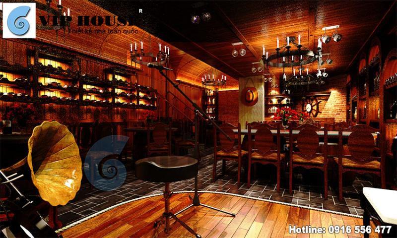Thiết kế nội thất nhà hàng rượu độc đáo, sang trọng phong cách châu Âu