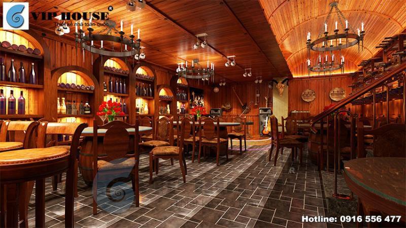 Thiết kế nội thất tầng hầm nhà hàng rượu vang