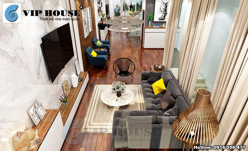 Thiết kế nội thất hiện đại phòng khách nhà phố 4 tầng
