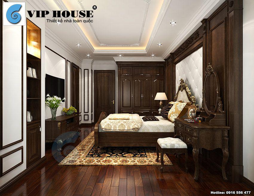 Thiết kế nội thất phòng ngủ master tân cổ điển + phòng thay đồ