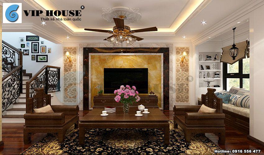 Thiết kế nội thất tân cổ điển phòng khách liền kề phòng bếp ăn