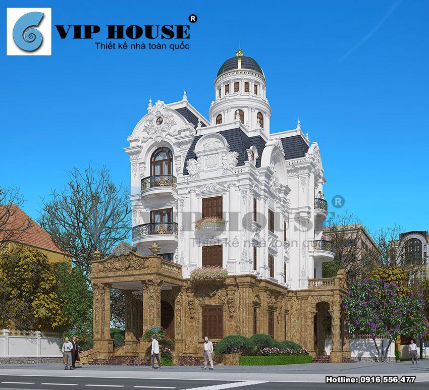 Thiết kế biệt thự lâu đài cổ điển 4 tầng tại Nam Định