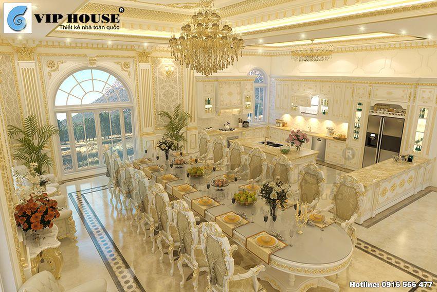 Bí quyết thiết kế phòng khách bếp kiểu cổ điển Pháp sang trọng
