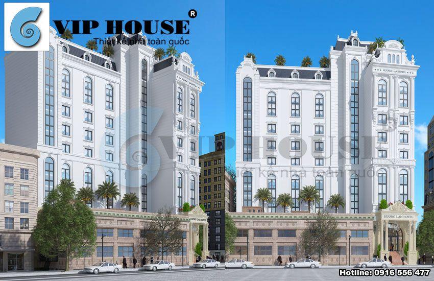 Tiền sảnh khách sạn rộng rãi, mang đặc trưng kiến trúc pháp