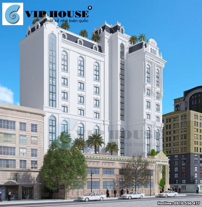 Góc view thể hiện sự quy mô và hoành tráng trong thiết kế khách sạn kiểu Pháp