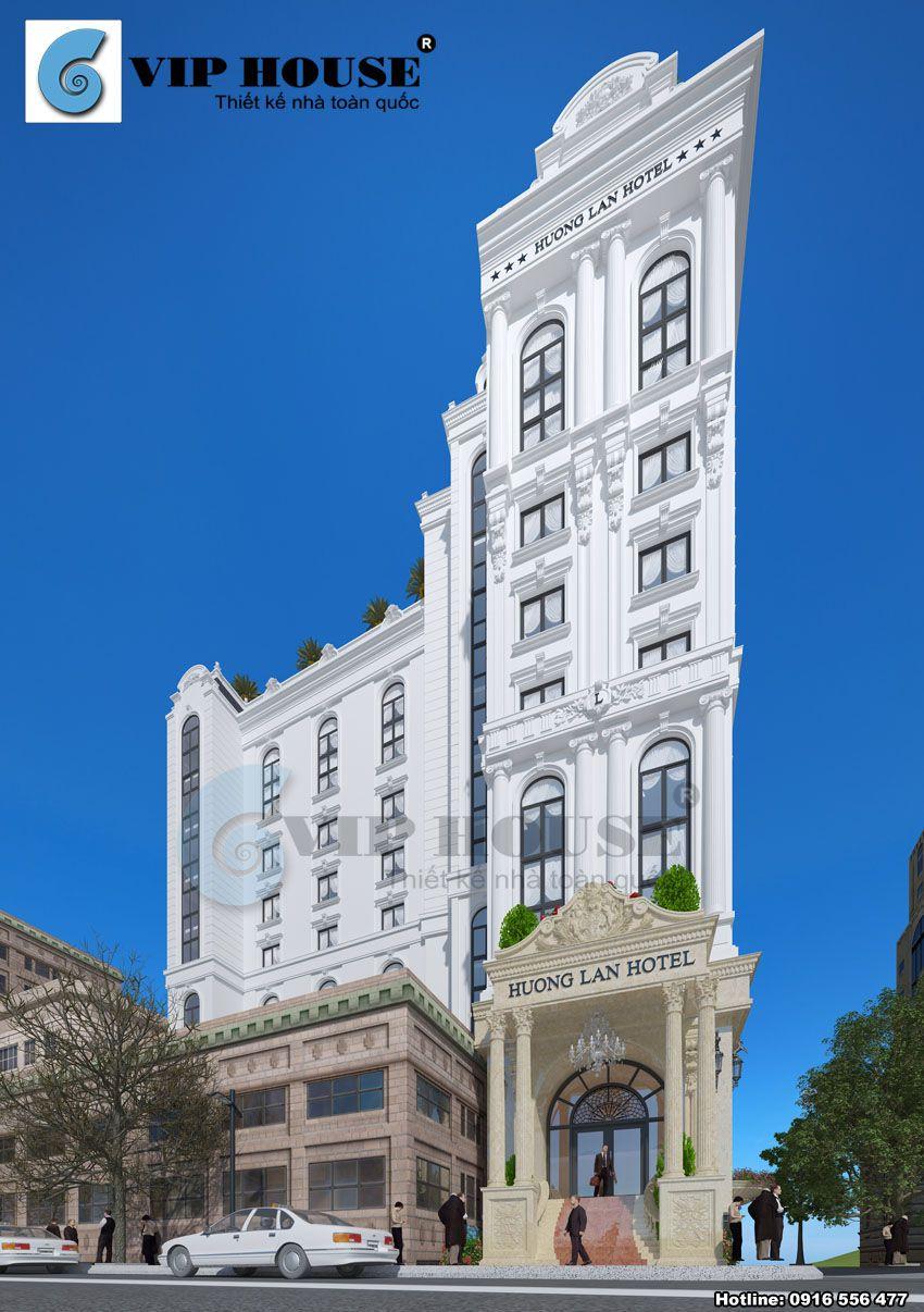 Kiến trúc khách sạn kiểu Pháp đẳng cấp với gam màu trắng thanh nhã