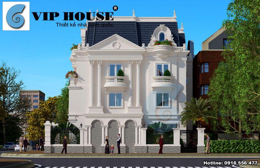 Kiến trúc công trình biệt thự Pháp 2 mặt tiền