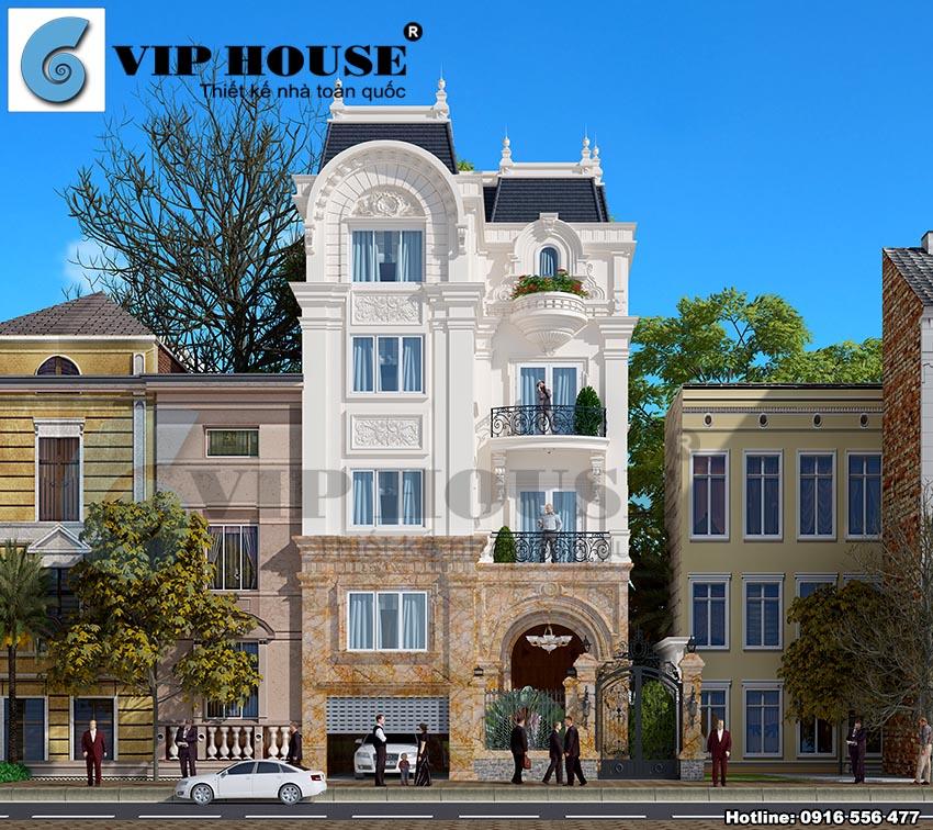 Mặt tiền của công trình thiết kế biệt thự phố kiểu Pháp