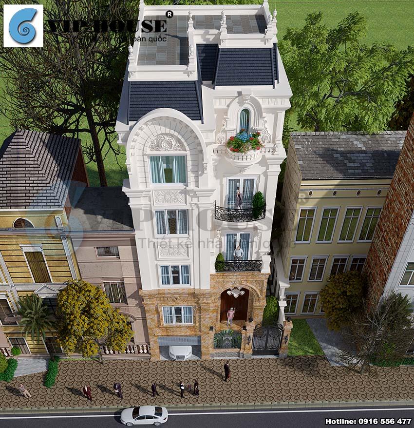 Thiết kế biệt thự phố mini phong cách kiến trúc Pháp tại Hòai Đức - Hà Nội