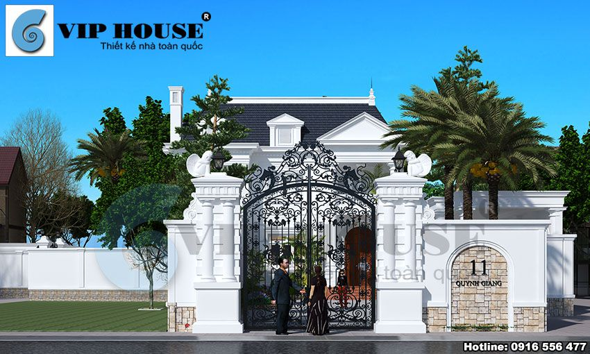 Phối cảnh mặt tiền cổng nhà