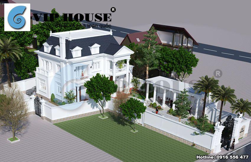 Tổng thể ngôi nhà với tổng diện tích 750m2 và thế đất vô cùng đặc biệt