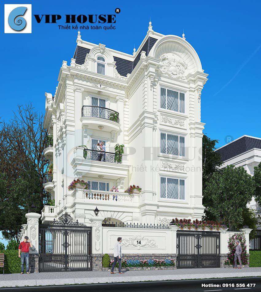 Phối cảnh góc với mặt bên thể hiện chiều dài ngôi nhà