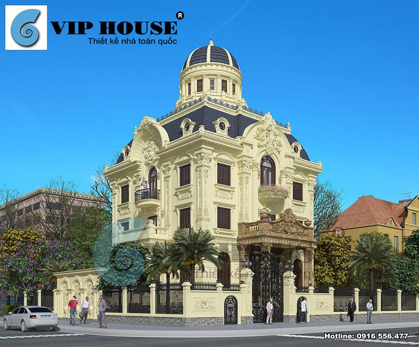 Thiết kế biệt thự cổ điển Pháp với 2 mặt tiền sang trọng