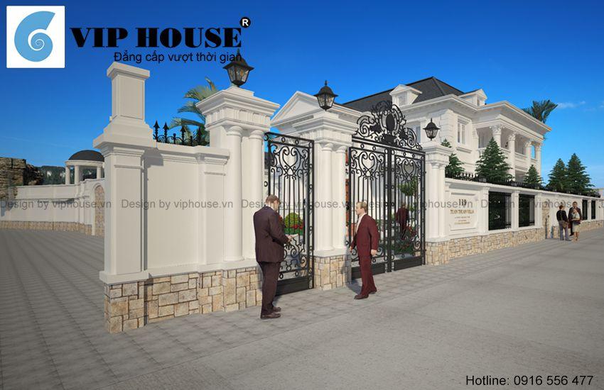 Cổng hàng rào tinh tế, sắc nét
