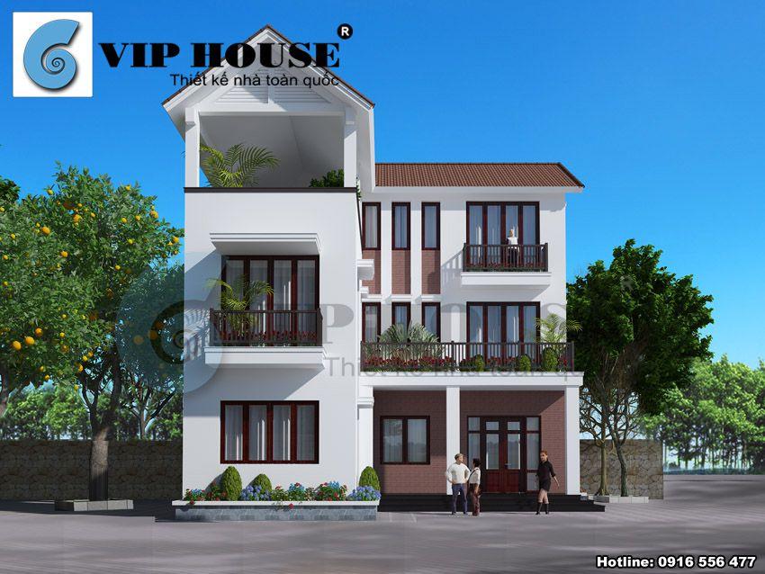 Thiết kế biệt thự mini hiện đại 3 tầng hình chữ L
