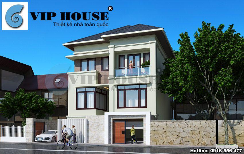 Thiết kế biệt thự phố 3 tầng có cầu thang ngoài tại Ninh Bình