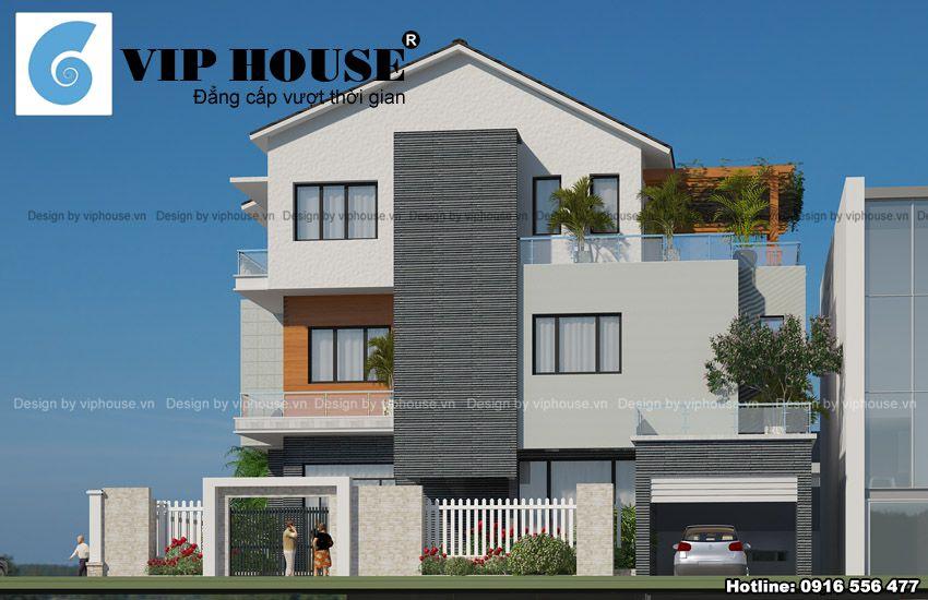 Tổng thể kiến trúc nhà được Kts thiết kế đơn giản hài hòa từ vật liệu, màu sắc