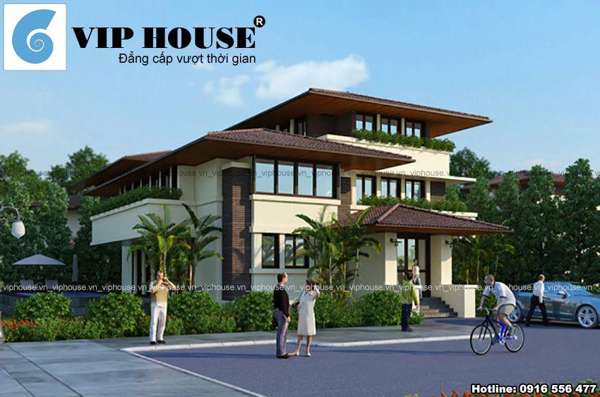 Thiết kế biệt thự 3 tầng mái ngói sang trọng