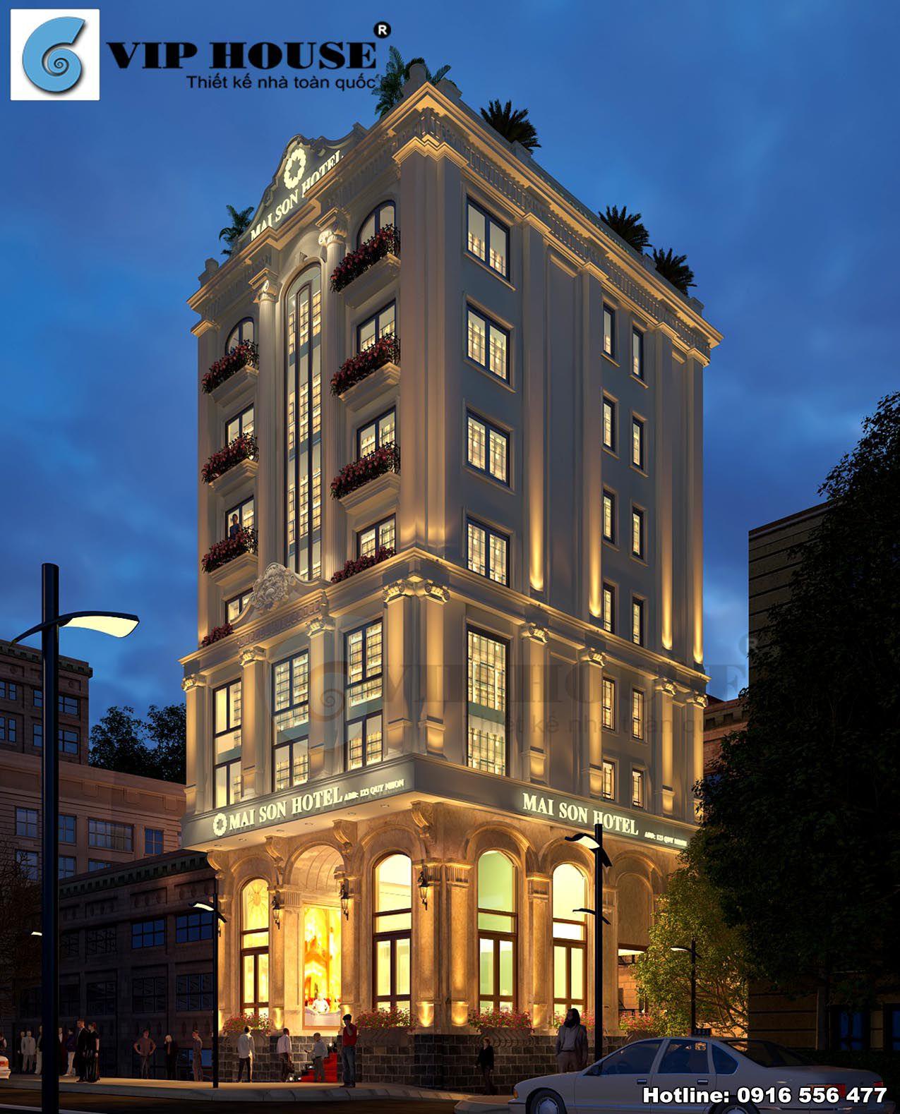 Phối cảnh kiến trúc khách sạn tân cổ điển 9 tầng vào ban đêm