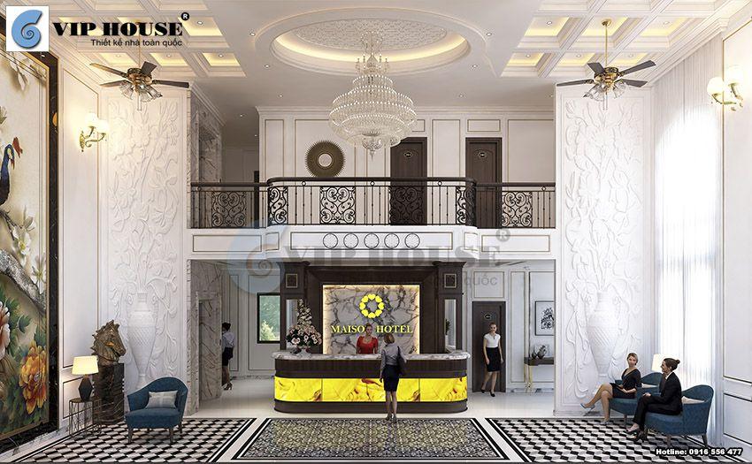 Thiết kế nội thất sảnh khách sạn phong cách tân cổ điển