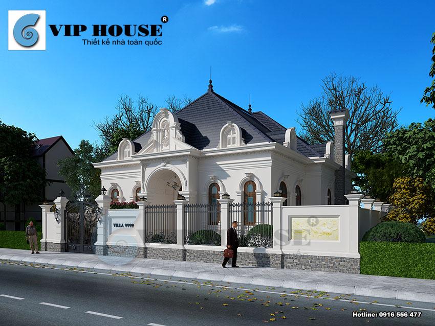 Thiết kế biệt thự kiểu Pháp 1 tầng diện tích 280m2 tại Thanh Hóa