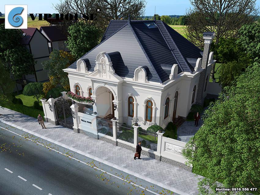Góc nhìn toàn cảnh ngôi nhà thể hiện vẻ đẹp ấn tượng kết hợp sân vườn xanh mát