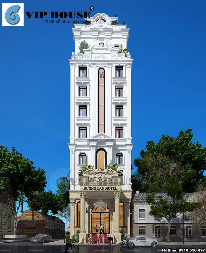 Thiết kế khách sạn mini đẹp kiểu cổ điển 11 tầng tại Ninh Bình